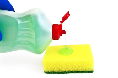 bright housekeeping: Bottle of detergent, a yellow sponge, green transparent gel, hand in glove blue isolated on white background