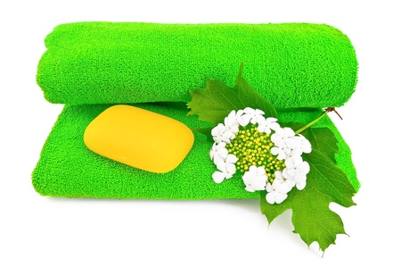 Green towel, a piece of yellow soap and a white flower viburnum isolated on a white background photo