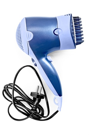 Blue hair dryer with comb nozzle and black wire with a fork isolated on white background Stock Photo - 9957463