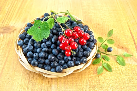 Blueberries with sprigs of red currants in a wicker basket, a sprig of blueberries with green leaves on a wooden board photo