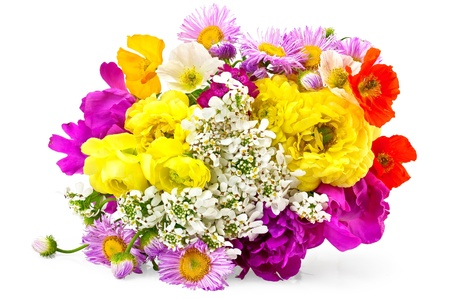 Bouquet of different flowers of white, yellow, red and pink colors isolated on white background photo