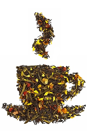 A mixture of black and green dry tea with petals of sunflower, rose, fruit of rose hips and papaya in form cup with steam isolated on a white background