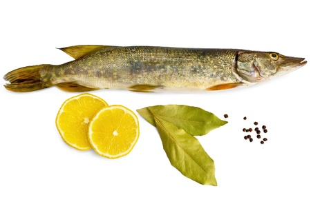Fresh fish, two slices of lemon, two bay leaves, black pepper isolated on white background photo