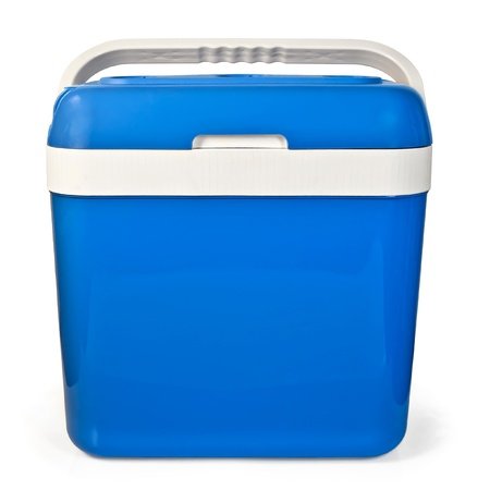 Blue small portable refrigerator for traveling in the car isolated on white background