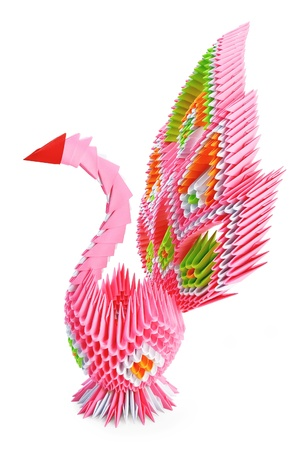 Origami in the form of a pink bird with the iridescent tail is isolated on a white background