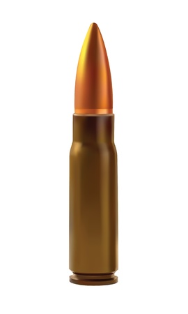 bullet: One cartridges for the automatic weapons isolated on a white background