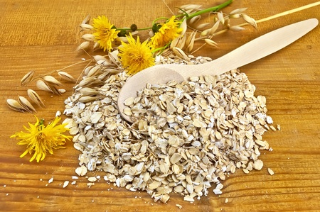 wild oats: Oatmeal with yellow wild flowers and stalks of oats, a wooden spoon against the wooden board Stock Photo