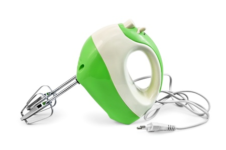 Green and white mixer isolated on white background