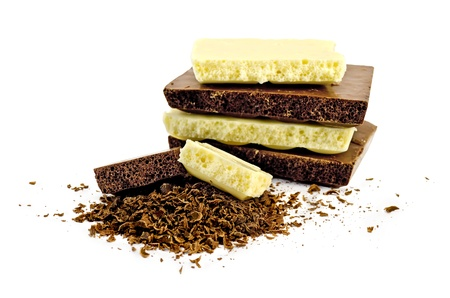 Chunks of white and dark chocolate porous, lots of grated chocolate isolated on white background Stock Photo - 12746292