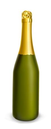 기밀: 흰색 배경에 고립 샴페인의 황금 병 녹색