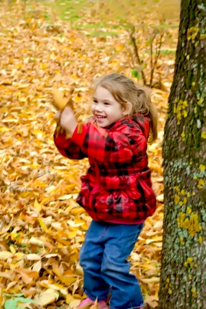 Little girl playing with leaves on a background of trees and yellow leaves photo