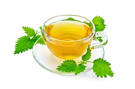Herbal tea in a glass cup and saucer, three twig nettle isolated on a white background photo