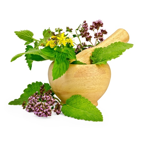 Sprigs of mint, lemon balm, oregano, tutsan, sage leaves in a wooden mortar and on the table isolated on white background Stock Photo - 17361113