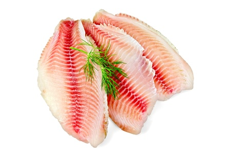 Tilapia fillets with dill isolated on a white background photo