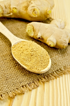 Wooden spoon with the powder of ginger, ginger root on a napkin on a burlap background wooden board