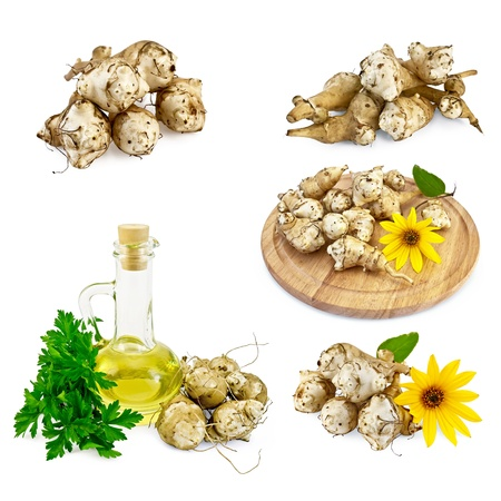 Jerusalem artichoke tubers, yellow flowers, round wooden board, a bottle of vegetable oil, parsley isolated on white background photo