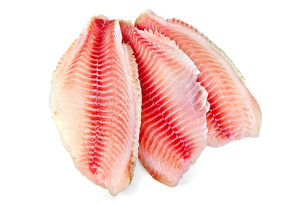 Tilapia fillets red isolated on white background photo
