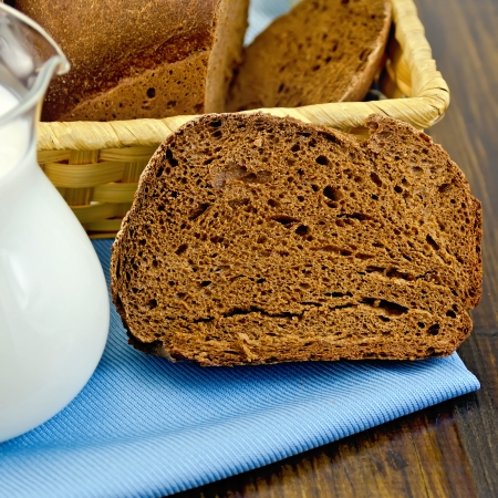 Hunk of homemade rye bread, wicker basket with bread on a blue napkin on a wooden boards background photo