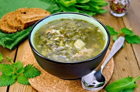 Green soup of sorrel, nettle and spinach in a bowl, spoon, bread, pepper against a wooden board Archivio Fotografico