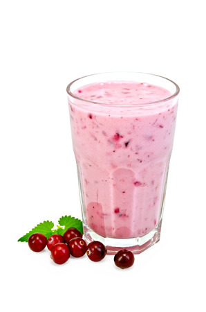 Milk cocktail with cranberries in a glass, mint isolated on white background Stock Photo