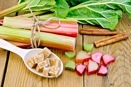 Bundle of stalks rhubarb, cut pieces of rhubarb with a sheet and a knife, a spoon of sugar cubes, cinnamon on a wooden board photo