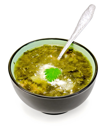 Green nettle soup in a bowl with a spoon isolated on white