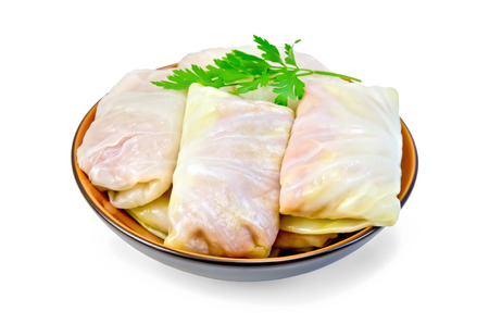 semimanufactures: Prepared stuffed cabbage with minced, parsley in a dish isolated on white background