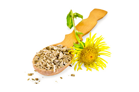 expectorant: Wooden spoon with dry elecampane root, yellow flower elecampane isolated on white background Stock Photo
