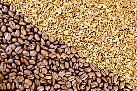 granular: The texture of the grain and granular coffee Stock Photo