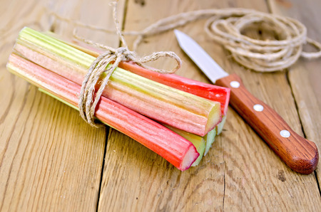 Bundle of stalks of rhubarb, a knife and a coil of rope on the wooden boards photo