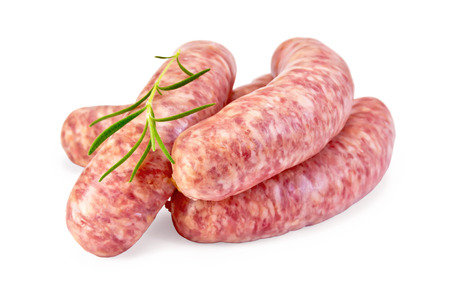 Pork sausages with rosemary isolated on white background 스톡 콘텐츠