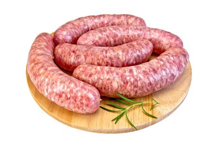 Sausages pork on round board Stock Photo