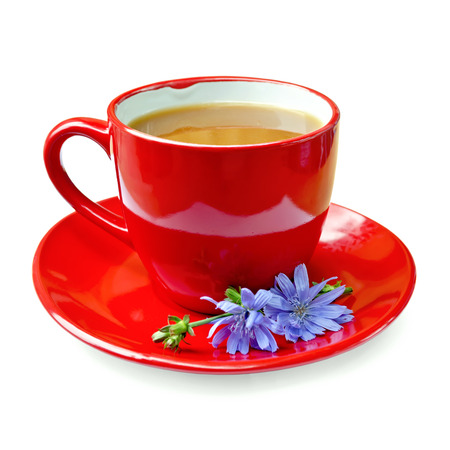 chicory coffee: Chicory drink in red cup with flower