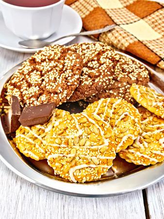 shortcake: Cookies chocolate and shortcake on tray Stock Photo