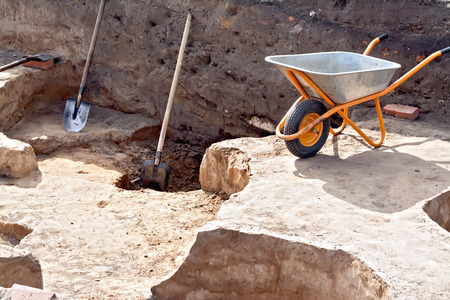 Tools at the site Archaeological excavations Stock Photo