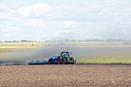 arable land: Tractor working on arable land