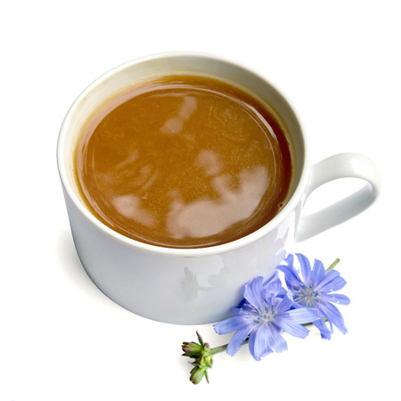 chicory coffee: Chicory drink in white cup with blue flower