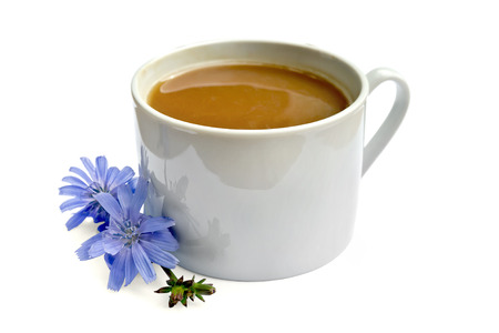 chicory coffee: Chicory drink in white cup with flower Stock Photo