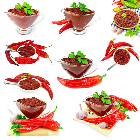 tabasco: Set photos of Tabasco adjika in a glass gravy boat, pottery, plate, hot peppers, isolated on white background