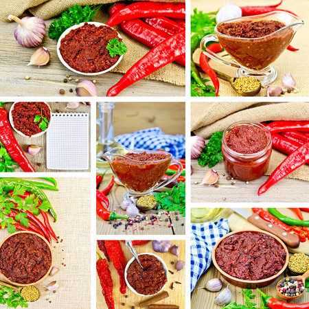 tabasco: Set photos of Tabasco adjika in a glass gravy boat, bank, pottery, spices, hot peppers, parsley, on a wooden board, sacking