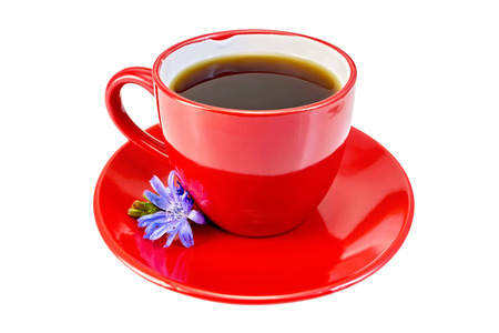 chicory coffee: Chicory drink in a red cup with blue chicory flower on a saucer isolated on a white background Stock Photo