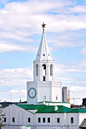 spassky: KAZAN, RUSSIA - JULY 26, 2014: Spassky tower of the Kazan Kremlin. Architectural monument of the XVI century. Kazan, Republic of Tatarstan, Russia.
