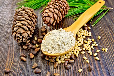 pine kernels: Cedar Flour in a wooden spoon, cedar nuts and two cones, green cedar branch on a background of wooden boards
