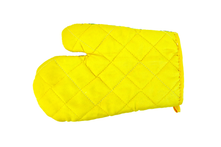 fireproof: Kitchen yellow potholder in the form of gloves isolated on white background Stock Photo
