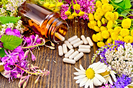 milfoil: Capsules in a brown jar and on the table, fresh flowers of fireweed, tansy, chamomile, clover, yarrow, meadowsweet, mint leaves on a background of dark wooden board