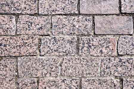 treated: Texture of the treated rectangular brown granite tiles Stock Photo