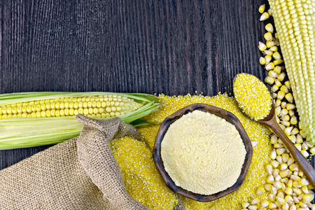 Flour corn in bowl and grits in spoon, cobs and grains maize, a burlap sack on the background of wooden boards