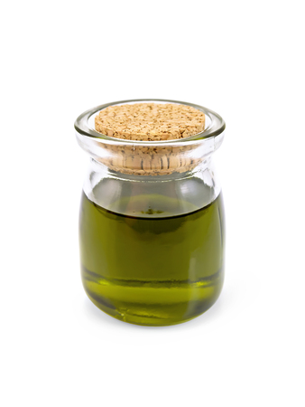 Hemp oil in a glass jar isolated on white background Фото со стока