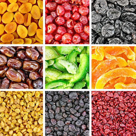 Set of textures of dried fruits and berries of apricot, cherry, prune, dates, pomelo, melon, black and white raisins, cranberries Stock Photo
