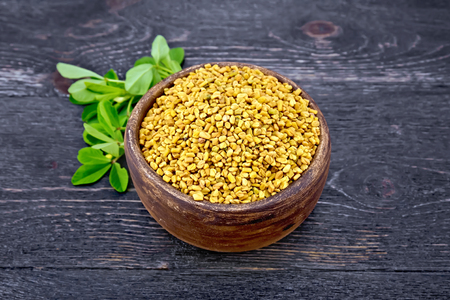 Fenugreek seeds in a clay bowl with green leaves on a background of a board Zdjęcie Seryjne